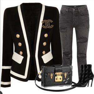 Black & white with gold button blazer